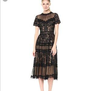 cbe565175c1b Tadashi Shoji Dresses - Tadashi Shoji Lace High-Neck Pleated A-Line Dress